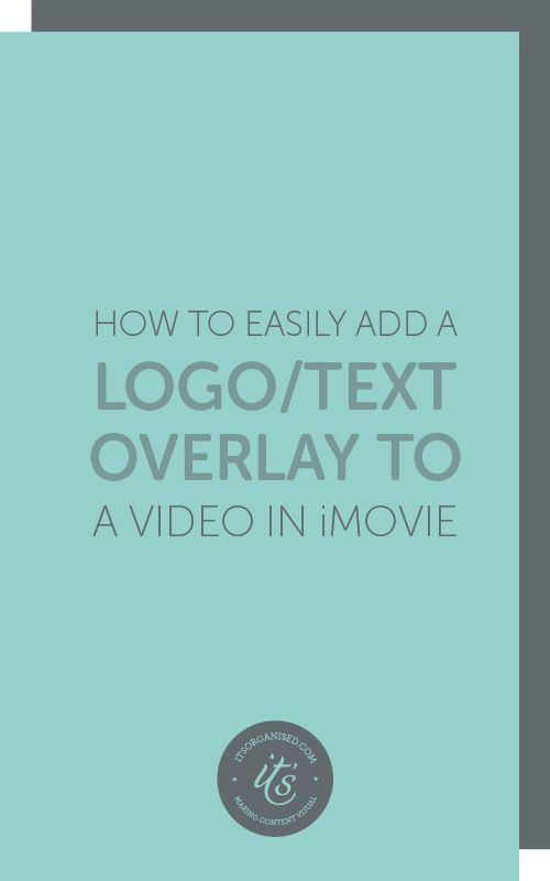 If you make videos, it can be really handy to add a logo or call to action. iMovie allows you to easily add overlays — like logos, web urls, shortened links to landing pages, fun embellishments — to videos. These can appear at any point in the video, and run for any length of time. Today's video will show you who easy it is to add and customise overlays. itsorganised.com video tutorial
