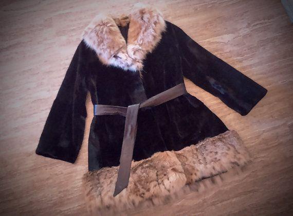 Fur coat/ Real Saga mink with lynx trim/ Black color