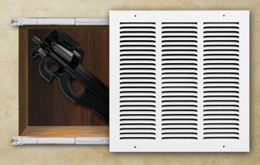 Secret In-wall Gun Compartments behind a fake vent