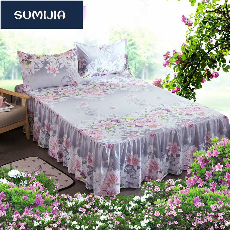 SUMIJIA Bedding Set 4 Styles Bed Skirt Bedspread Cotton Slip Solid One Piece Fitted Bed Sheets Bedding 180X200cm