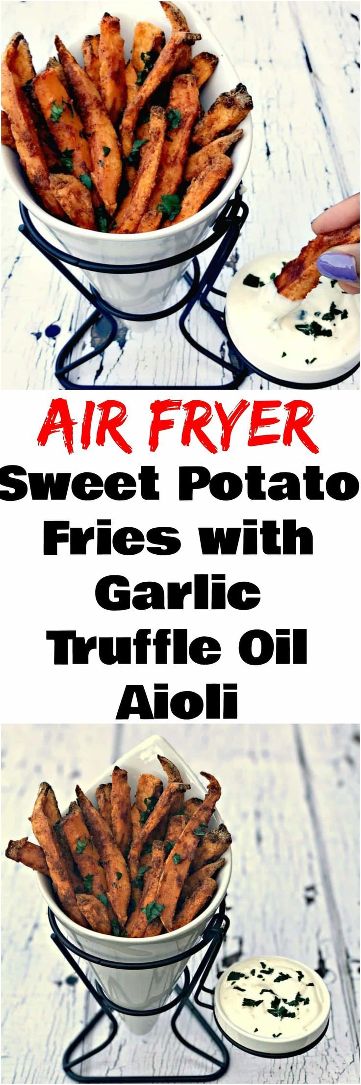 Air Fryer Crispy Crunchy Sweet Potato Fries are healthy fried sweet potato french fries that are low in fat and perfect for guilt-free meals.