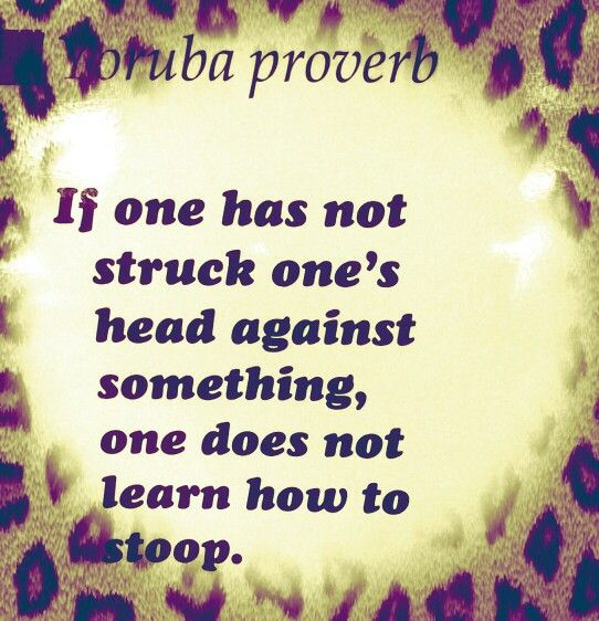 If one has not struck one's head against something, one does not learn how to stoop. Yoruba proverb.