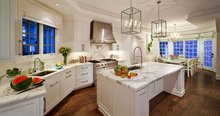 Traditional Kitchen with One-wall, Crown molding, Ceiling cove, Inset cabinets, Complex marble counters, Flat panel cabinets