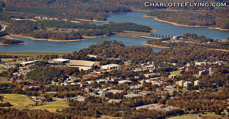 An aerial shot of Clemson University. Death Valley can be seen on the left. Taken from 8 miles away at 5000' while ferrying an aircraft back from Texas.