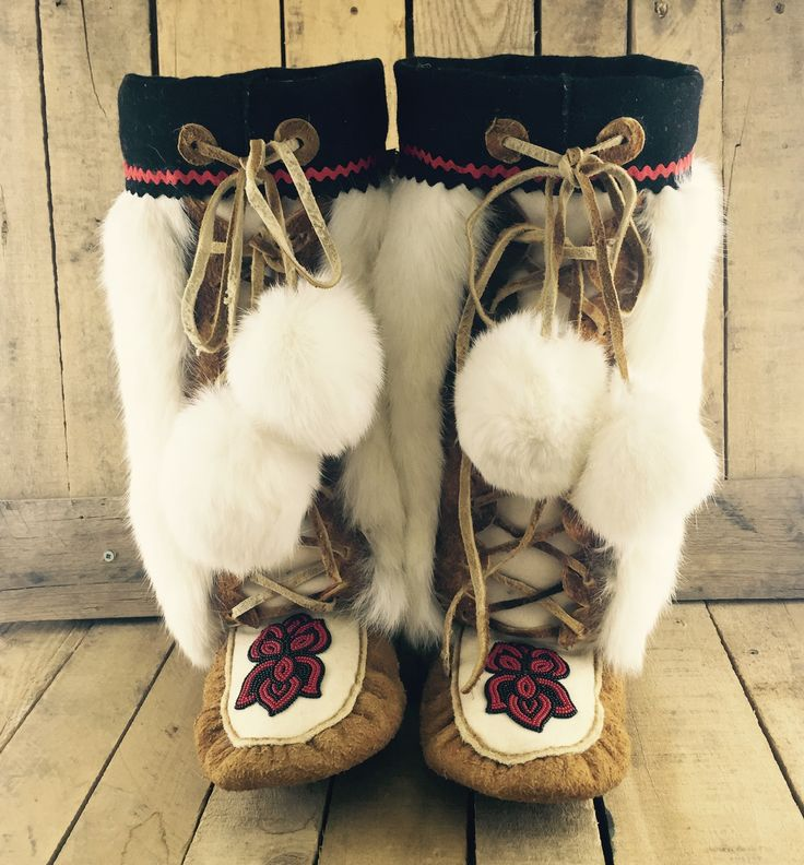 Authentic Hand-Tanned Moose Hide Mukluks with Red and Black Beaded Flowers  #Esawa #HandTanned #Handmade #Beadwork #Traditional #Indigenous #Native #Mukluks #Local #Alberta #Canada #Fashion