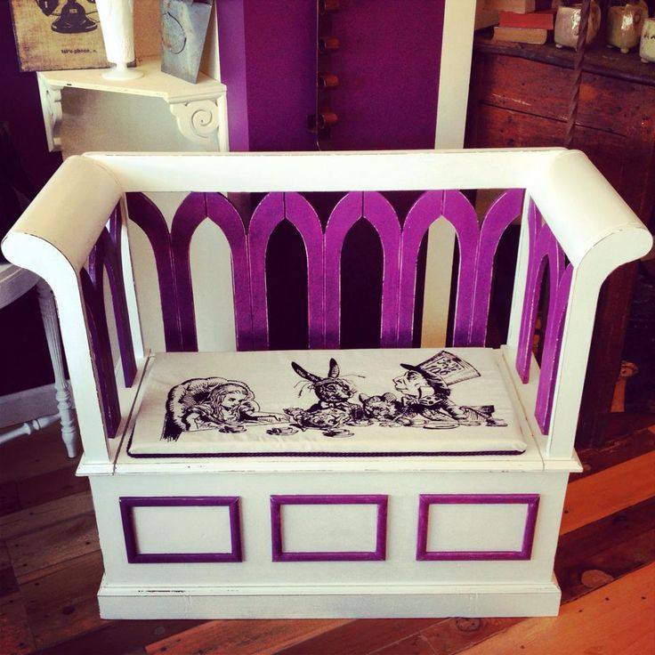Hand painted and stitched Alice in Wonderland Bench with storage.