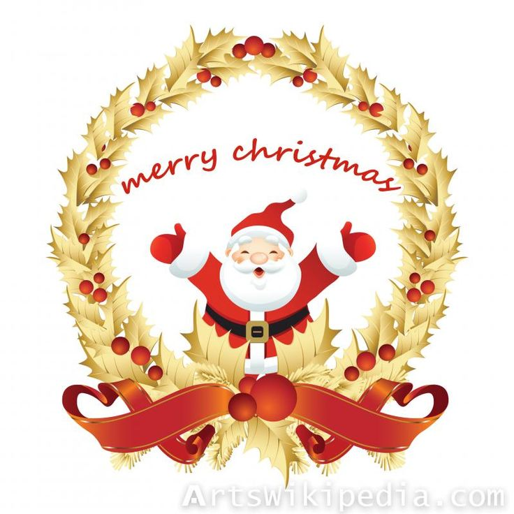merry christmas santa claus picture #merry_christmas #banner #gold #red #santa_claus #card #holly #wreath #holiday #wallpaper #image #picture