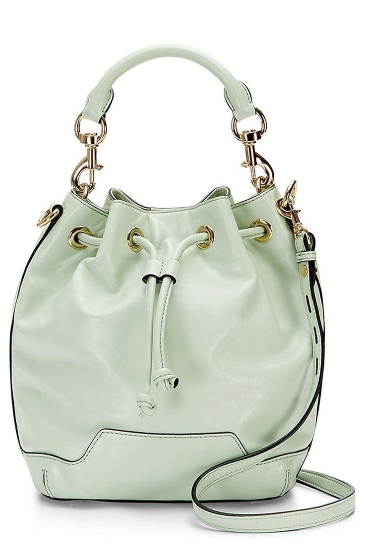 Loving everything mint this season | Rebecca Minkoff bucket bag.
