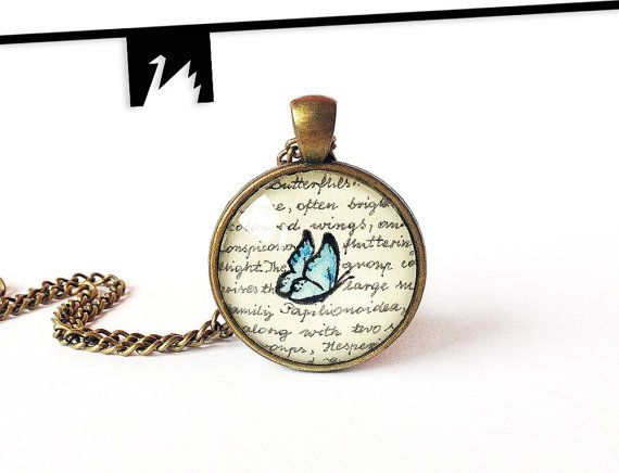 Original painting under glass blue butterfly necklace