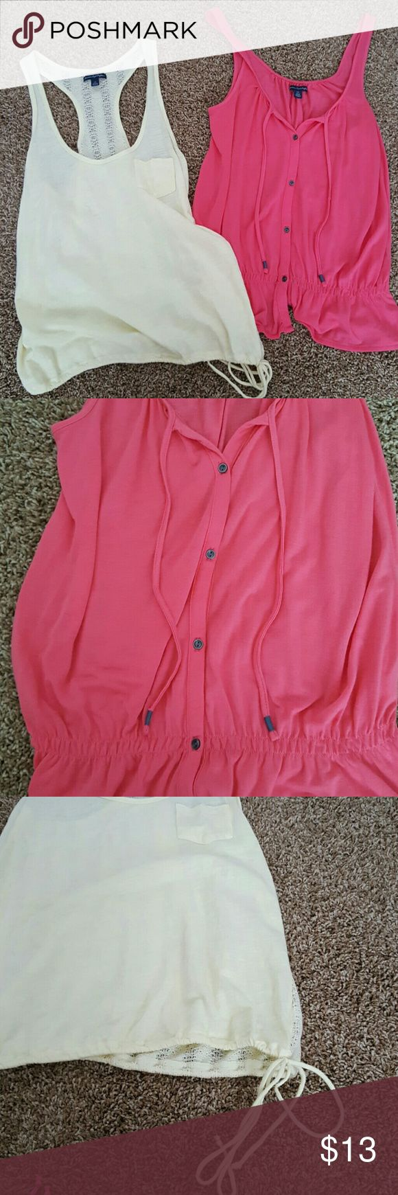 **Discounted Shipping**American Eagle Bundle Two small tanks. Pink and light yellow. In great condition, not worn very much. American Eagle Outfitters Tops Tank Tops