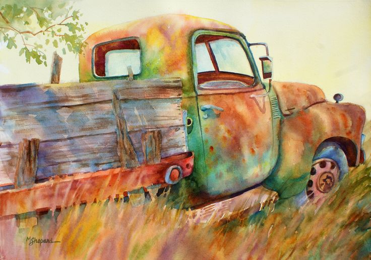 "DONE WORKIN' by Mary Shepard. Watercolor of old work truck left to rust. Image size: 15"" X 21"" on Arches watercolor paper. www.maryshepard.com"