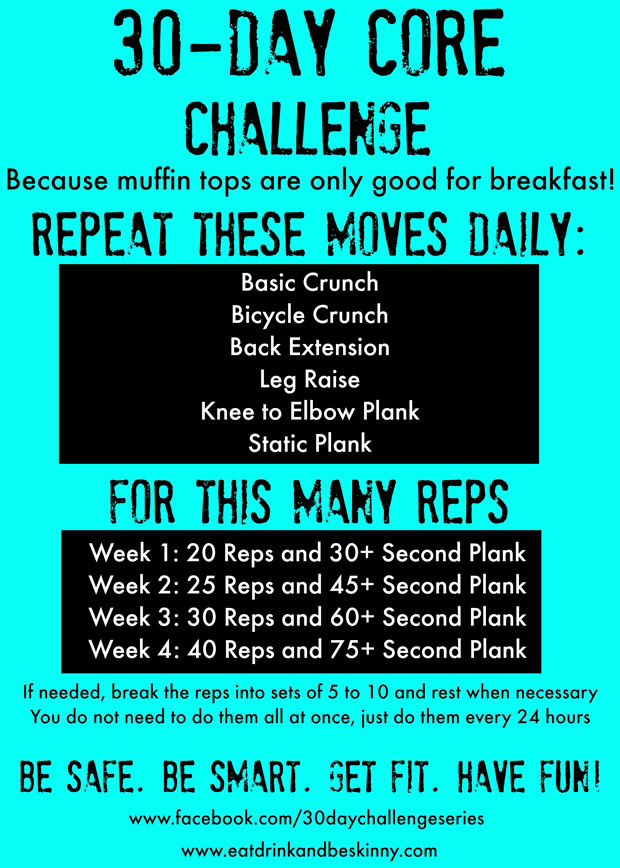 30 day fitness challenge...do these exercises daily plus 30 minutes of cardio 3x a week!