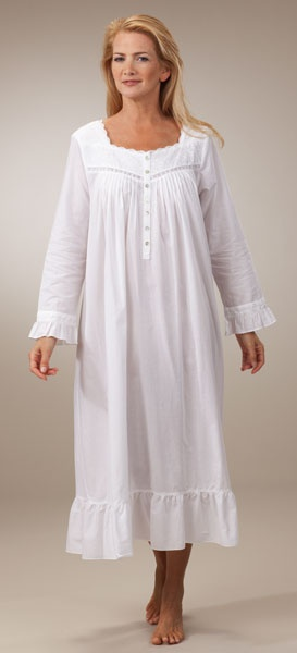 Eileen West Long-Sleeved Ballet Cotton Lawn Night Gown in Monaco White