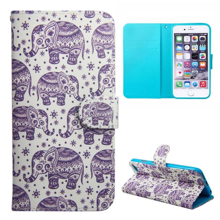 Daminfe Apple iPhone 6S Plus/iPhone 6 Plus Phone Case, Colorful Cute Luxury Design Pu Leather Wallet Magnetic Flip Case with Stand for Apple iPhone 6S Plus/iPhone 6 Plus 5.5(Purple Elephant). For:Apple iPhone 6S Plus 5.5(2015)/iPhone 6 Plus 5.5(2014). Mad