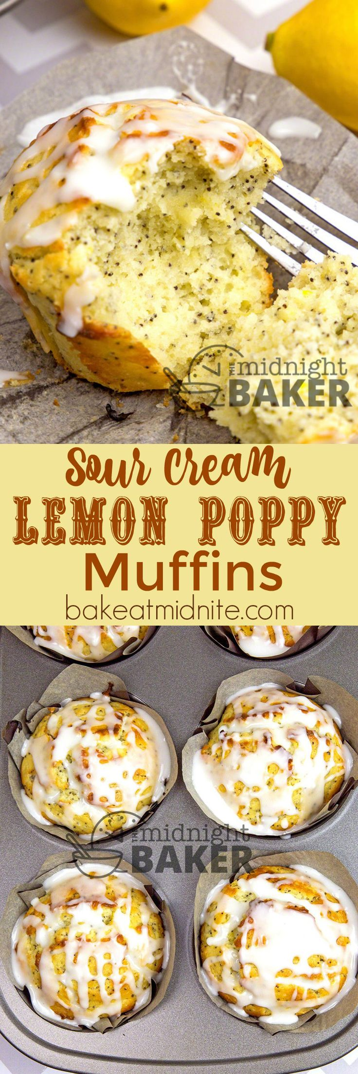 Sour cream gives these lemon poppy muffins their soft and tender texture.                                                                                                                                                                                 More