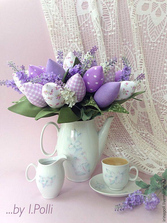 Купить Сиреневый рассвет - букет тюльпанов - сиреневый, тюльпаны, тюльпаны тильда, тюльпаны из ткани, букет