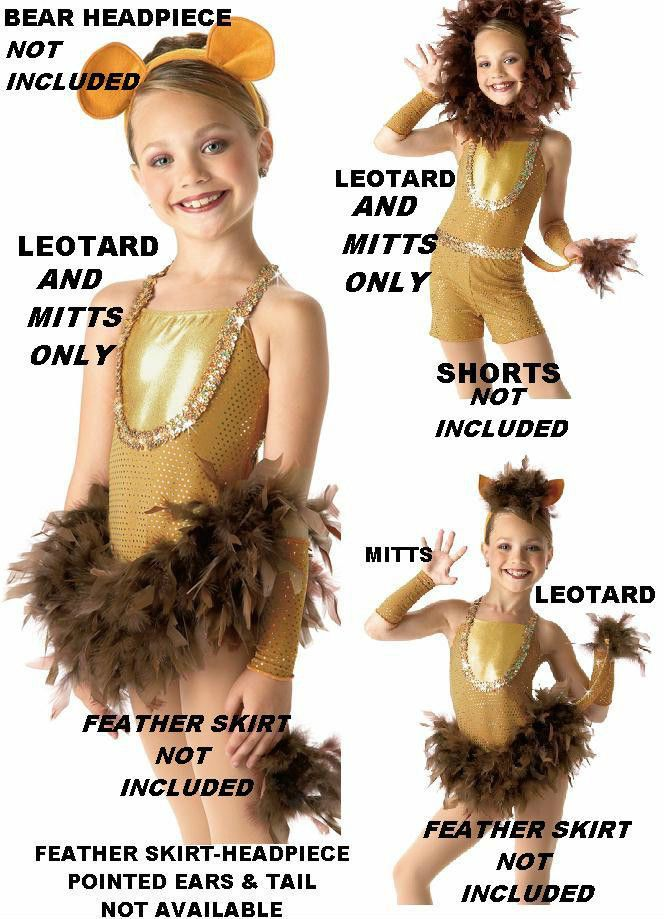 Dandy Lion Dance Costume LEOTARD and MITTS ONLY Clearance Adult Medium & AXL