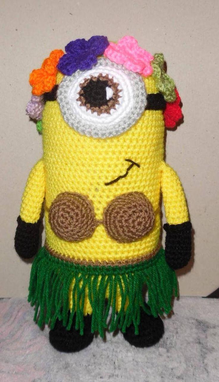Large Crochet Hawaiian Minion Amigurumi Stuffed Toy (With