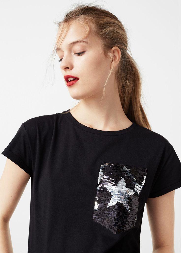 Camiseta lentejuelas reversibles - Camisetas de Mujer | MANGO España