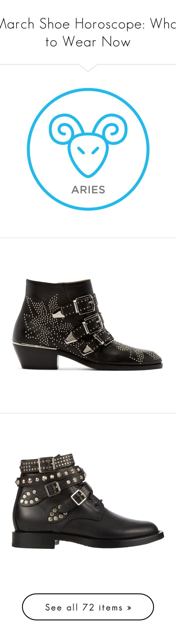 """""""March Shoe Horoscope: What to Wear Now"""" by polyvore-editorial ❤ liked on Polyvore featuring shoes, Horoscope, boots, ankle booties, ankle high boots, zipper booties, studded boots, almond toe boots, black and silver boots and botas"""