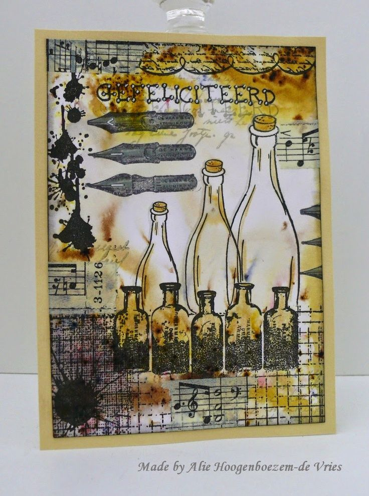 Stamped card (Congratulations) with Bister, made by Alie Hoogenboezem-de Vries
