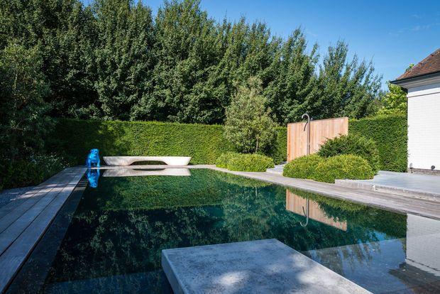 Rumbeke, een tuin met zwembad van Studio Verde met houten douchewand.