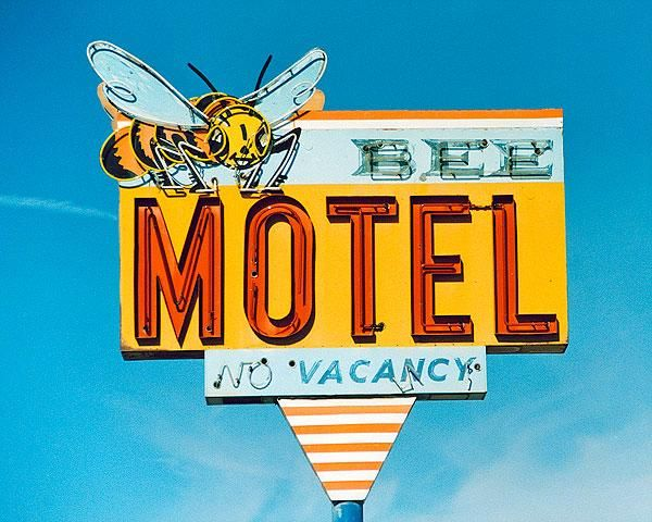 FINE ART PHOTO OF The Bee Motel sign and Photos of Roadside America and Route 66