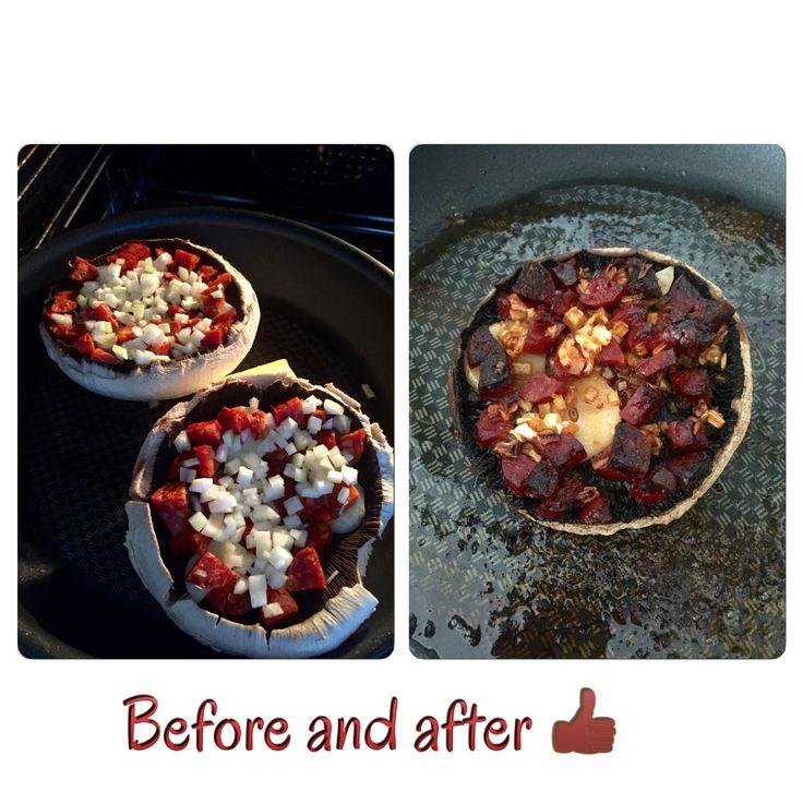 Portobello champignon med hakkede løg, etfeds hvidløg i skiver og chorizo. 200 grader i ovnen i ca. 30 min. Fra kold ovn.