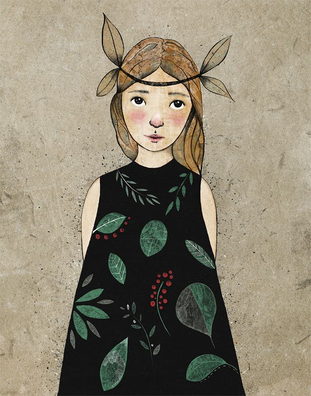 Floral Dress Girl - mixed media illustration