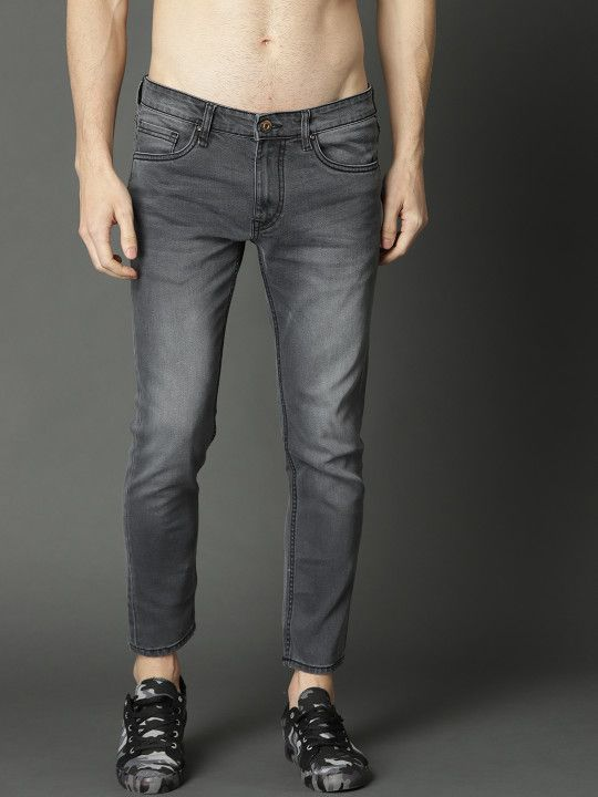 edbb6e3a59f9 Roadster Men Charcoal Grey Skinny Fit Mid-Rise Clean Look Stretchable Jeans  - | 1199