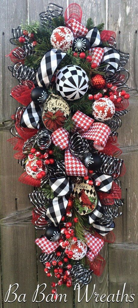 Red Black Christmas Decor Classic Christmas By BaBamWreaths