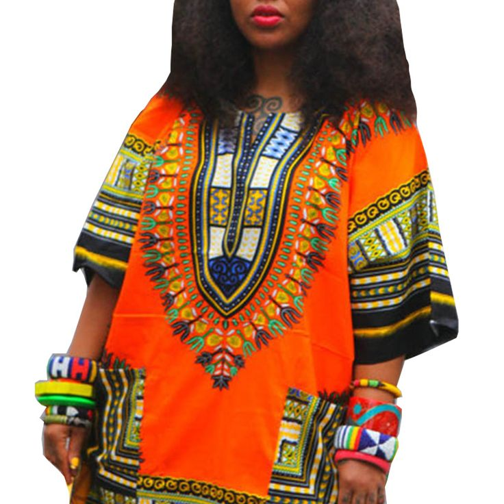 Traditional African Clothing for Women Shirt Unisex Orange Classic Cotton Dashiki Tops Plus Size Summer Print Blouse 10749
