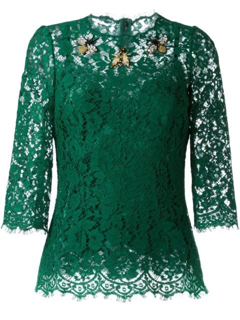 Dolce & Gabbana Blusa de renda com aplicação                                                                                                                                                                                 Mais