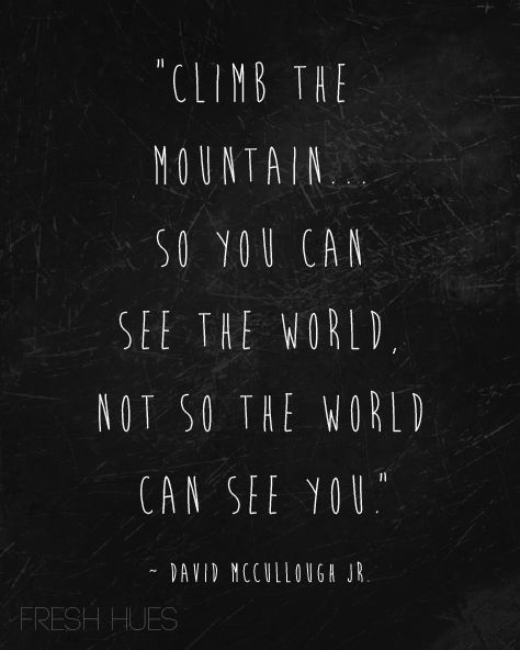Climb the mountain... so you can see the world, not so the world can see you. ~David McCullough Jr.