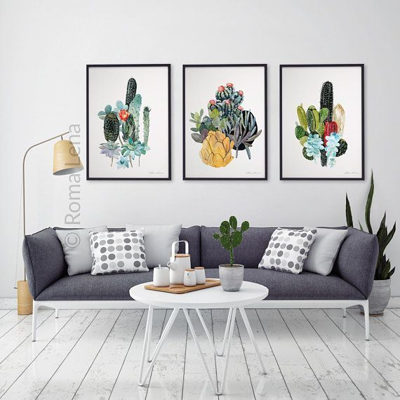 Living Room Art Watercolor Set 3 Prints Digital Prints Poster Print Modern Wall Art Home Decor White Horse Wall Decor Living Room Decor Living Room Wall