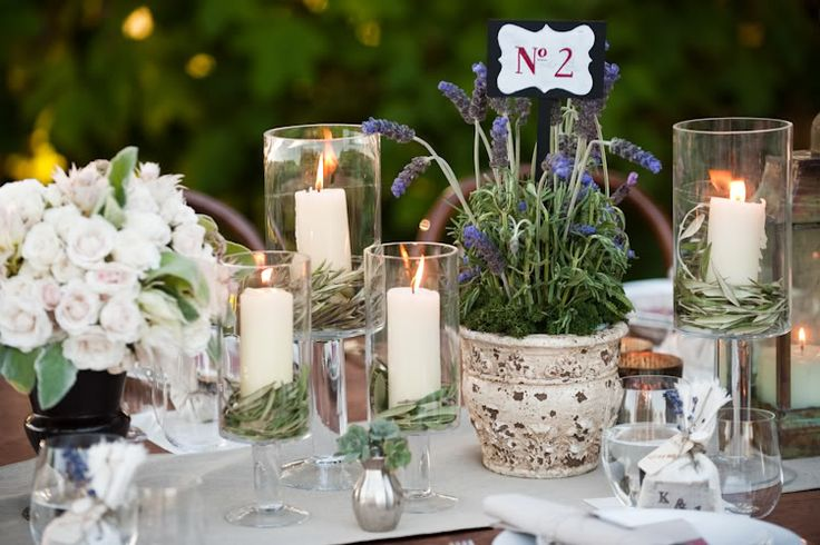 Candles with Herbs for Tables (By SnippetandInk.com)