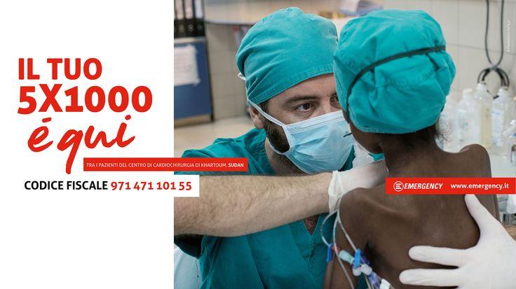 Il tuo 5x1000 per @emergencyong è tra i pazienti del nostro Centro di cardiochirurgia in Sudan, tra i profughi della guerra in Siria e in Iraq, tra i feriti in Afghanistan e in Libia, tra i migranti che sbarcano in Sicilia, tra i pazienti dei nostri ospedali. Donaci il tuo 5x1000: lo trasformeremo in ospedali e centri sanitari, farmaci ed equipaggiamenti, formazione professionale e lavoro per lo staff locale. E, soprattutto, in cure gratuite per chi ne ha bisogno, senza discriminazioni.