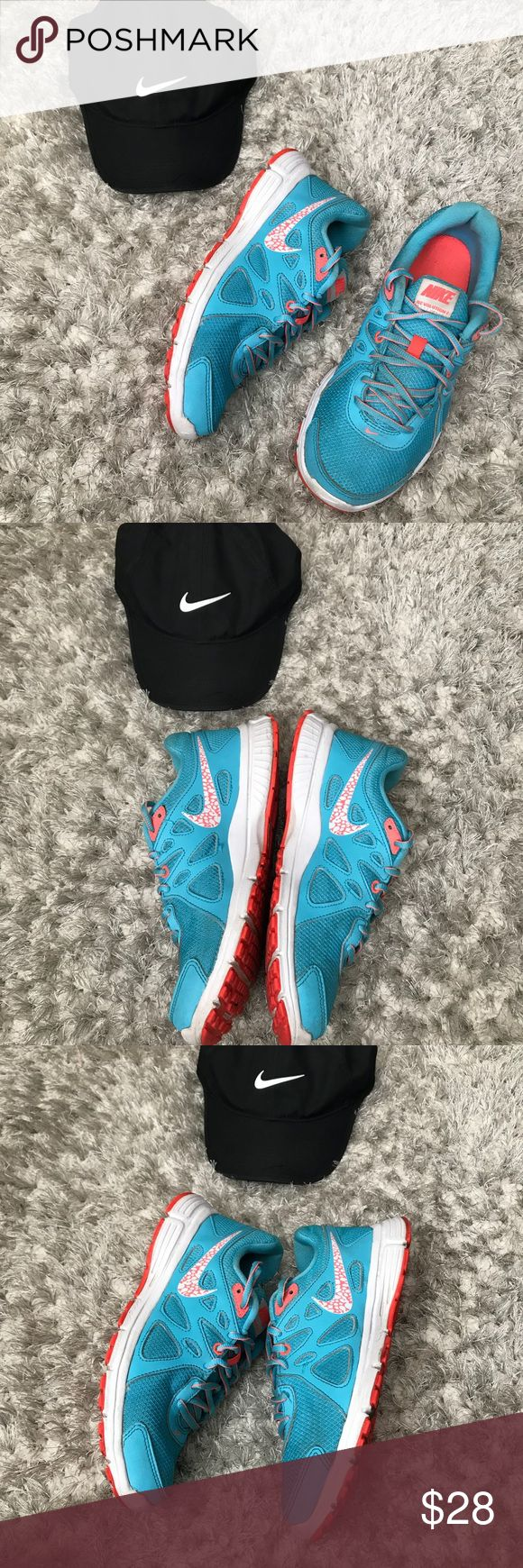 Nike Women's revolution 2 Size 8.5 In perfect condition Clearwater blue revolution 2 Size 8.5. No rips or stains. Hat not included Nike Shoes Sneakers