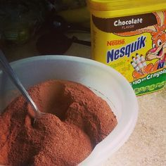 Home-made Nesquik. Chocolate milk mix that uses 3 Ingredients vs. 14 ingredients in the stuff from the store. 1 cup baking cocoa, 2 cups sugar, 3 pinches of salt. When you go to make the chocolate milk, it works best if you mix it in the glass with a bit of hot water before adding the milk.