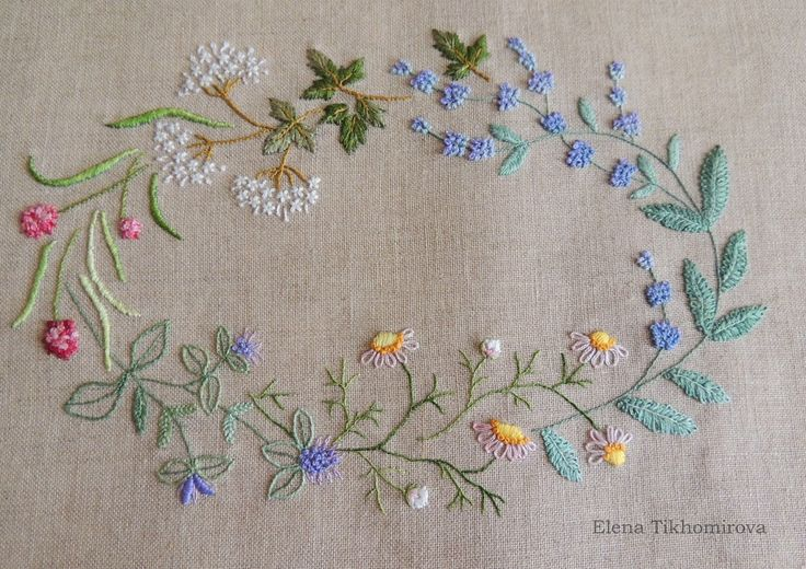 ♒ Enchanting Embroidery ♒ embroidered floral oval with a variety of stitches