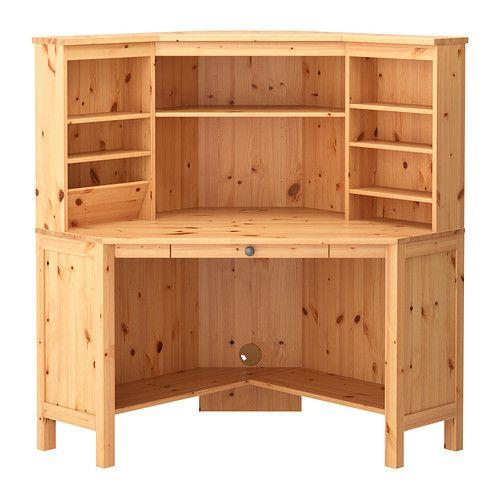 HEMNES Posto de trabalho de canto IKEA A madeira maciça é um material natural e duradouro.