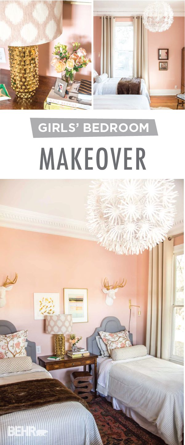 We can't get enough of the millennial pink hue of this DIY girls' twin bedroom makeover from Kevin, of Thou Swell. Start by adding a fresh coat of BEHR Paint in One To Remember. Gold and white accent colors combined with faux fur blankets add a chic, modern style to the interior design of this space.