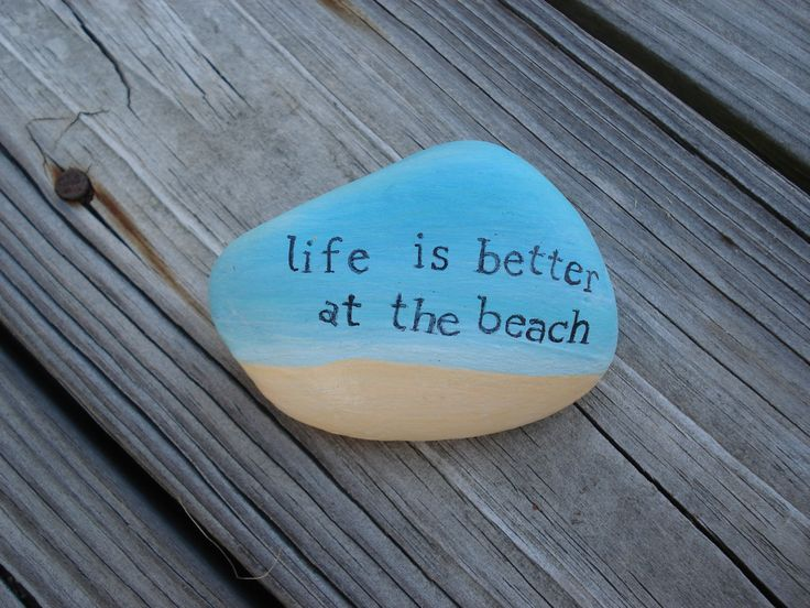 Painted Rocks | Life is Better at the Beach Hand Painted Rock Stone by artbyjulia