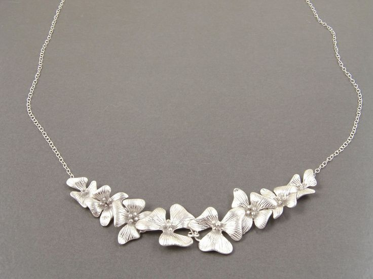 Statement Necklaces – Silver Orchid Flower Statement Necklace – a unique product by Crystalshadow on DaWanda