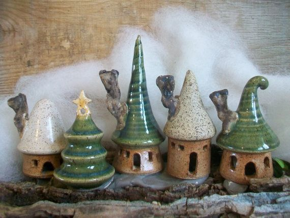 Garden Fairy Houses - Pick  Your Set of 3 -  Houses or Tree - Handmade on Potters Wheel -