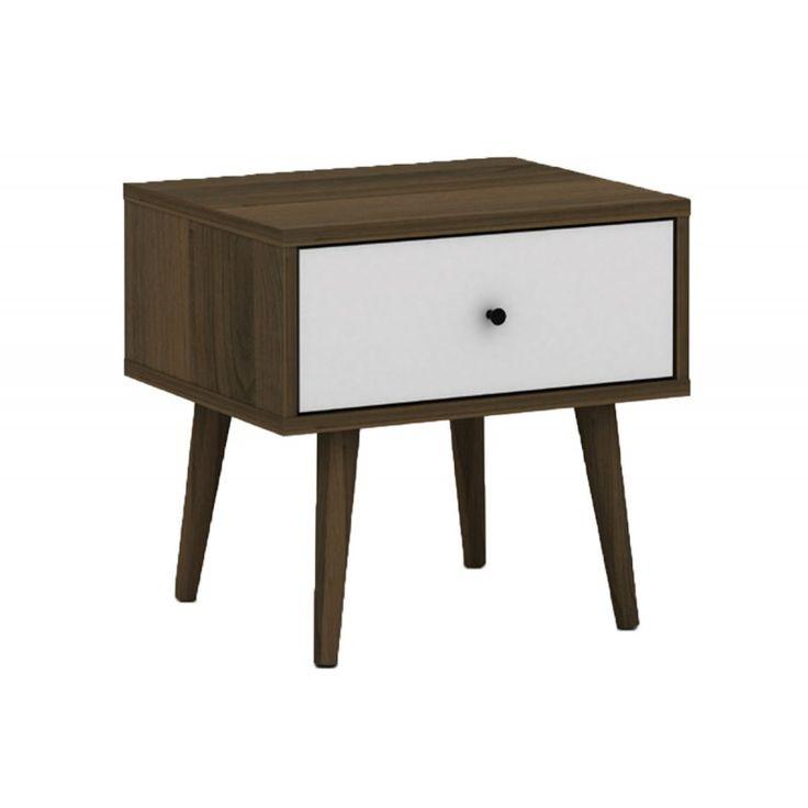Bedside table Alida walnut-white 48x39x45 Ε7340