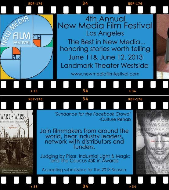 4th Annual New New Media Film Festival. We are now Accepting submissions to our 17 categories. Over FORTY FIVE THOUSAND DOLLARS in Awards/Prizes. For more info check our site www.newmediafilmf... Use code JR5 for a special discount. Thank you!    Deadline for Submissions May 1st, 2013 Midnight.
