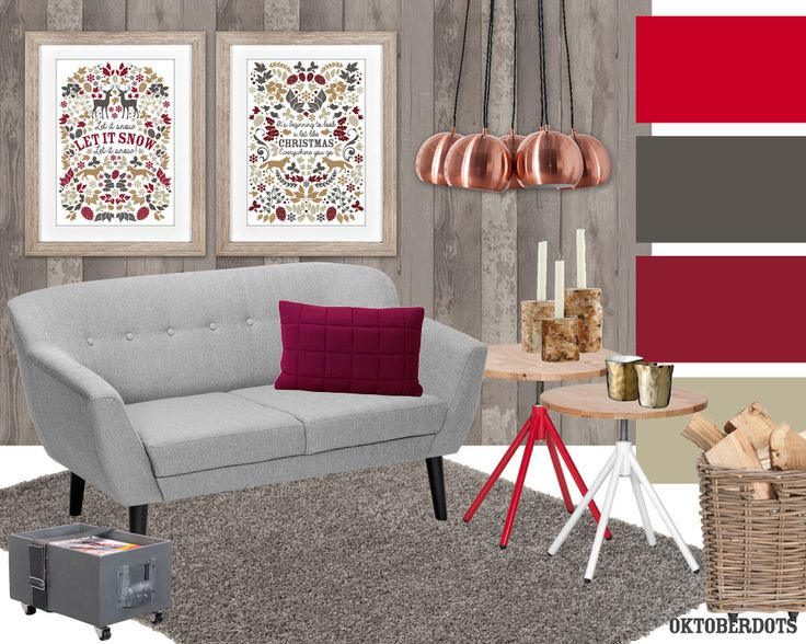 Pretty christmas livingroom collage with wood, grey and red. A gorgeous, traditional christmas decoration with cute posters by Oktoberdots