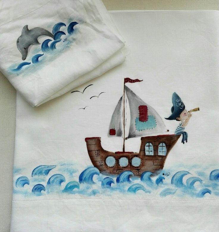 Per una favolosa cameretta, lenzuolo dipinto a mano