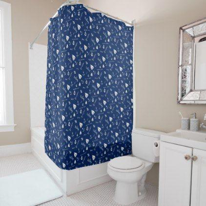 Sailing Theme Nautical Shower Curtain - shower gifts diy customize creative